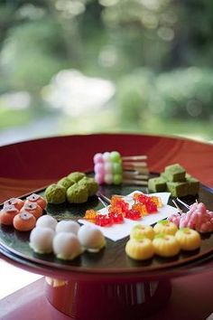Wagashi buffet served in the Japanese traditional wedding.