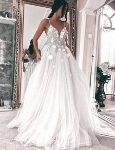 Spaghetti Straps Sleeveless Backless Wedding Dress with Appliques Wedding Gown evening gowns for wedding Wedding Evening Gown, Wedding Dress Chiffon, Cute Wedding Dress, Backless Wedding, Long Wedding Dresses, Cheap Prom Dresses, Bridal Dresses, Wedding Gowns, Bridesmaid Dresses