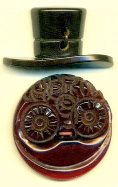 "2 Vintage BAKELITE Buttons… - Collector Note: Is the bottom button ""Redmanol""? Was Redmanol used in buttons? Think pipestems. Redmanol absorbed by Bakelite after litigation. Guess what chemist worked at Bakelite as VP, and director of research. L.V. Redman."