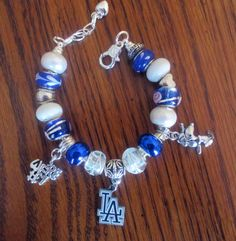 Los Angeles Dodgers European Charm Bracelet by EverythingsCharming, $22.99