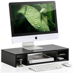 Tonysa Monitor Stand Riser,Rack Shelf Stand Holder,Desk Computer Screen Storage Bracket for Desktop Monitor//Laptop//Keyboard Base with Simple /& Modern Style//3 small holes Black