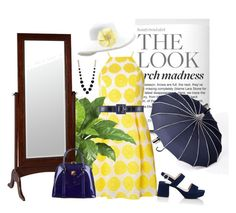 """""""Navy and yellow for Spring"""" by twinsis71 on Polyvore featuring Dorothy Perkins, Prada, Oscar de la Renta, Eric Javits, Cooper Classics and MCM"""