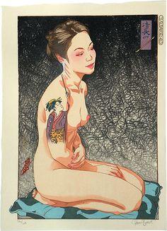 Paul Binnie (Scottish, b. 1967): A Hundred Shades of Ink of Edo: Kiyonaga's Pipe, woodblock print, 2010.
