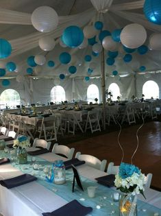 Easy wedding DIY....use plastic table coverings to drape a tent ceiling could have used alot more but it was 100 degrees in the tent!