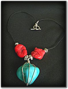 Red and Turquoise Navajo Inspired Wire and Cord by MixedStrata, $15.95