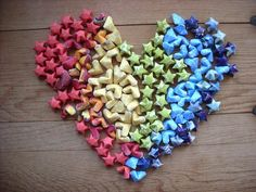 Spring Rainbow Party Pack, Mix of Origami Hearts and Stars, 144 piece set. Table Scatter. Party Favors.