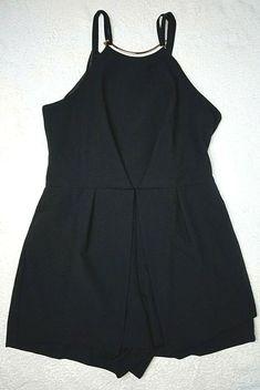 c3c49e55c3b Miss Selfridge Ladies Petites Playsuit 12 40 Black Gold Neck Overlay Club  Spring Playsuit