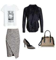 S:  Bluzka Mango  Spódnica H&M  Buty, toreka Aldo  Kurtka New Look