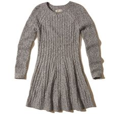 Hollister Skater Sweater Dress ($50) ❤ liked on Polyvore featuring dresses, grey, grey dress, gray dress, crew neck dress, cable knit sweater dress and longsleeve dress