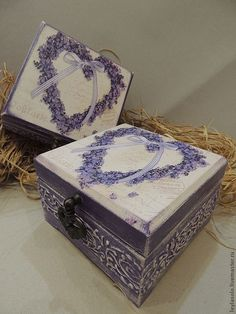 Купить чайная шкатулка   Лавандовое  сердце - сиреневый, лаванда, шкатулка, шкатулка для украшений, шкатулка деревянная