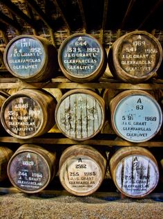 Glenfarclas Distillery, Ballindalloch, Scotland. Barrels of delicious, delicious whiskey...