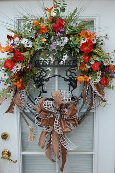 Spring and Summer Western Welcome Wreath by HangingTouches on Etsy, $159.00