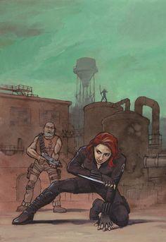 Hawkeye Avengers fan art | Avengers fanart: Black Widow and Hawkeye in action by astridv
