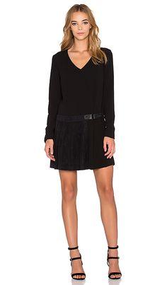 1. STATE Long Sleeve Pleat Detail Shift Dress in Rich Black | REVOLVE