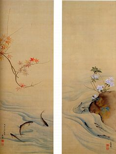 "Maruyama Ōkyo (Japanese, 1733–1795). Sweetfish in Summer and Autumn,1785. Edo period (1615–1868). Japan.  The Metropolitan Museum of  Art,  New York.  Mary Griggs Burke Collection, Gift of the Mary and Jackson Burke Foundation, 2015 (2015.300.198a, b) |  This work is exhibited in the ""Celebrating the Arts of Japan: The Mary Griggs Burke Collection"" exhibition, on view through January 22, 2017 #AsianArt100"