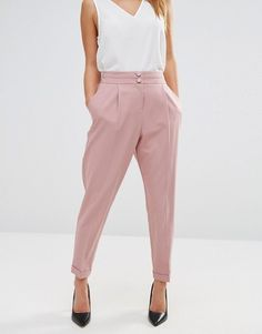Buy ASOS PETITE Tailored High Waisted Trousers with Turn Up Detail at ASOS. Get the latest trends with ASOS now. Jeans Formal, Office Outfits, Casual Outfits, Asos Petite, Pants For Women, Clothes For Women, Petite Outfits, Work Attire, Work Fashion