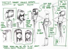 David Vandervoort's character design/model sheets were based off these original character design concepts by Robert Valley. On each drawing are notes from the shows creator Chris Prynoski.