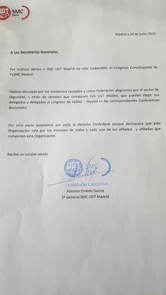 Comunicado sobre la suspensión del Congreso Constituyente de FeSMC Madrid