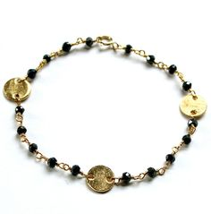 Black Spinel Bracelet, Vermeil Discs,  Dainty Jewelry, Mother's Day, Gifts for Her on Etsy, $25.00