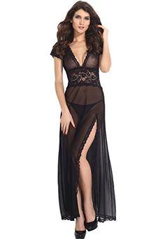 800f179d332 Amazon.com  BeLuring Womens Lingerie Deep V Neck Long Split Gown  Clothing