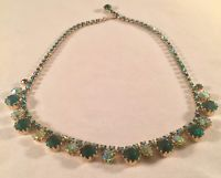 Vintage Signed WEISS Gold-Tone Metal Green & Green A/B Rhinestone Necklace