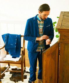 CASPER JOHN(キャスパージョン)の【FREQUENT】ピグメント チノ パイピング ジャケット(テーラードジャケット) ブルー