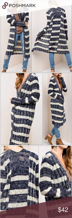 "🔹Last 2🔹 Navy and Sand Striped Long Cardigan * Navy blue and sand colored cardigan. * Open front (no buttons) * Horizontally striped with back seam insert for contrast. * Super soft, lightweight sweater with an almost flowy feel. * 55% Cotton / 45% Acrylic  Measurements: S/M:  Bust: 44"" Length: 38"" Sleeve: 24""   ❣️Price is firm unless bundled❣️ FW8771687 Sweaters Cardigans"