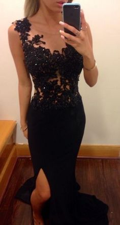 Black Sexy Evening Dresses Mermaid Sheer Prom Dress