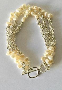 Chanel Inspired Pearl and Chainmaille bracelet Chainmaille Bracelet, Silk Thread, Chains, Jewelery, Pearls, Inspired, Awesome, Bracelets, Pictures