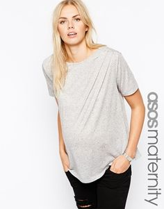ASOS Maternity T-Shirt with Pleat Detail in Neppi