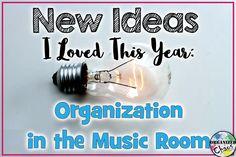Organized Chaos: Teacher Tuesday: new ideas for music classroom organization. Downsizing teacher desk, triangle storage solution, and centers organization.