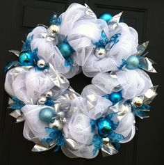 white, silver, & blue Christmas/Winter deco mesh wreath. $50.00, by Adornments4Living on Etsy.Com
