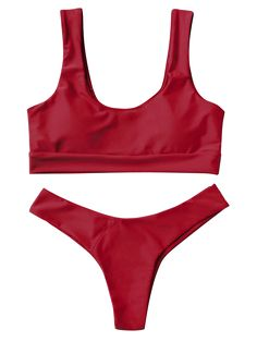 U Neck Bralette Thong Bikini Set - RED S