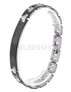 (HLBR022-BLACK) Black Silver Two-Tone Logo Patched Stainless Steel Bracelet