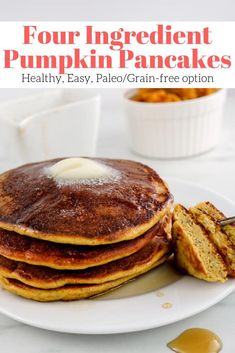 Four Ingredient Healthy Pumpkin Pancakes – Slender Kitchen The easiest and most delicious healthy pumpkin pancakes made with just 4 ingredients you already have at home. Works with any flour with Paleo and grain-free options. Clean Eating Vegetarian, Clean Eating Snacks, Healthy Eating, Eating Habits, Clean Eating Pancakes, Vegetarian Salad, Eating Raw, Healthy Food, Paleo Pancakes