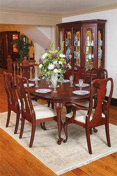 """Amish Queen Anne 72"""" Oval Table with Two 20"""" Skirted Extensions Lancaster Collection This gorgeous Queen Anne dining table will add style and grace to your dining room. It is ma"""