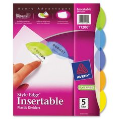 Avery Style Edge Insertable Plastic Dividers, 5-Tab Set (11200) Avery http://www.amazon.com/dp/B0013CAFV8/ref=cm_sw_r_pi_dp_sO1xvb0SWDBMW