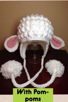 Lamb Hat pattern by Sarah Zimmerman Free pattern for a little lamb hat. Crochet Animal Hats, Crochet Kids Hats, Crochet Beanie, Knit Or Crochet, Crochet Crafts, Crochet Clothes, Crochet Projects, Knitted Hats, Knitting Patterns