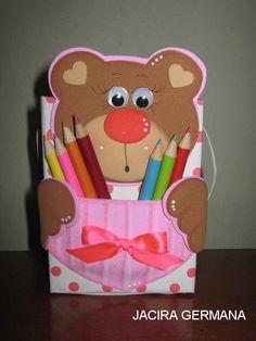 Eu Amo Artesanato: Porta lápis de ursinho com molde