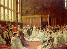The Marriage of George, Duke of York (the future King George V) to Princess Mary of Teck on July 1893 at the Chapel Royal, St. James's Palace in London. George Duke, King George, Royal Brides, Royal Weddings, Elizabeth Ii, Maud Of Wales, St James's Palace, Princesa Victoria, Queen Victoria Family