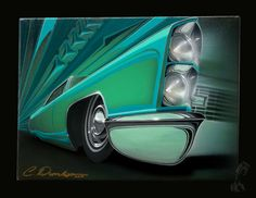 """Custom 68 Cadillac- Acrylic & Enamel on 9""""x16"""" Canvas. Original painting available here:  http://www.PinstripeChris.com/Store"""