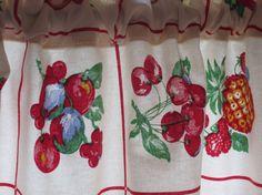 Retro Kitchen Curtain Valance New Fabric 48 X 13 by OneJellybean