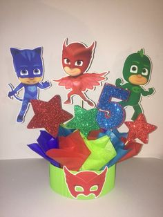PJ Mask centerpiece birthday , party decoration, birthday centerpiece, PJ Mask centerpiece inspirated, 4 centerpiece