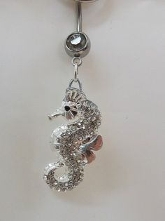 Seahorse belly button ring, belly ring with crystal seahorse 14ga