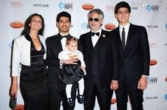 ANDREA BOCELLI - with second wife, two grown sons & young daughter -nice photo!