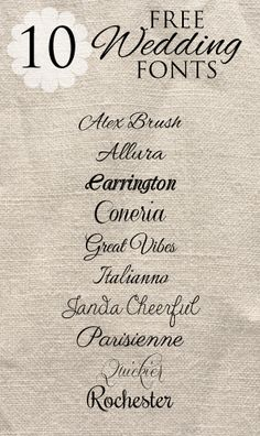 10 Free Wedding Fonts for DIY Invitations Found at :: http://iheartfreefonts.com/2013/04/20/free-fonts-diy-wedding-invitation/