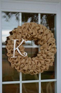Homemade Bubble Burlap Monogram Wreath by HomeSpunSugarDesigns, $35.00