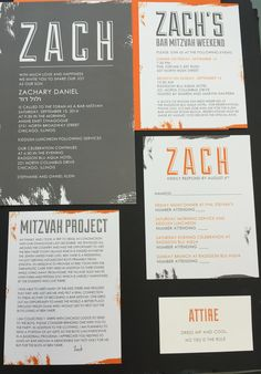 Modern letterpress bar mitzvah invitations with a cool monogram gray and orange urban style bar mitzvah invitation with matching program and attire card solutioingenieria Gallery