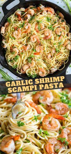 Shrimp Scampi Recipe No Wine, Shrimp Scampi With Pasta, Shrimp Scampi Sauce, Chicken Scampi Recipe, Shrimp Pasta Dishes, Dishes Recipes, Wine Recipes, Pasta Recipes, Cooking Recipes