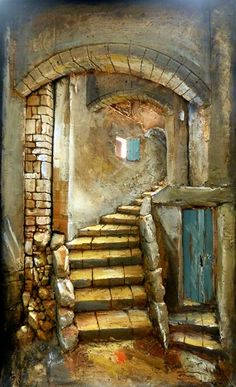 Kenneth is a South African artist based in Johannesburg, South Africa. He creates three-dimensional art that is very unique and utterly captivating! 3d Frames, South African Artists, Spiral Staircase, Jerusalem, Three Dimensional, Mosaics, Abandoned, Decoupage, Pots